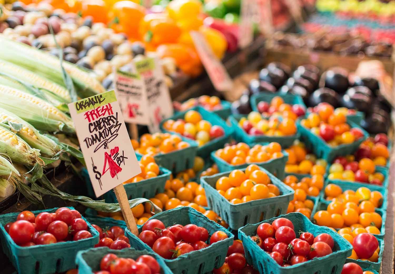 Market display of vegetables