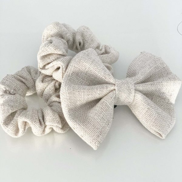Dog bow tie matching with scrunchie
