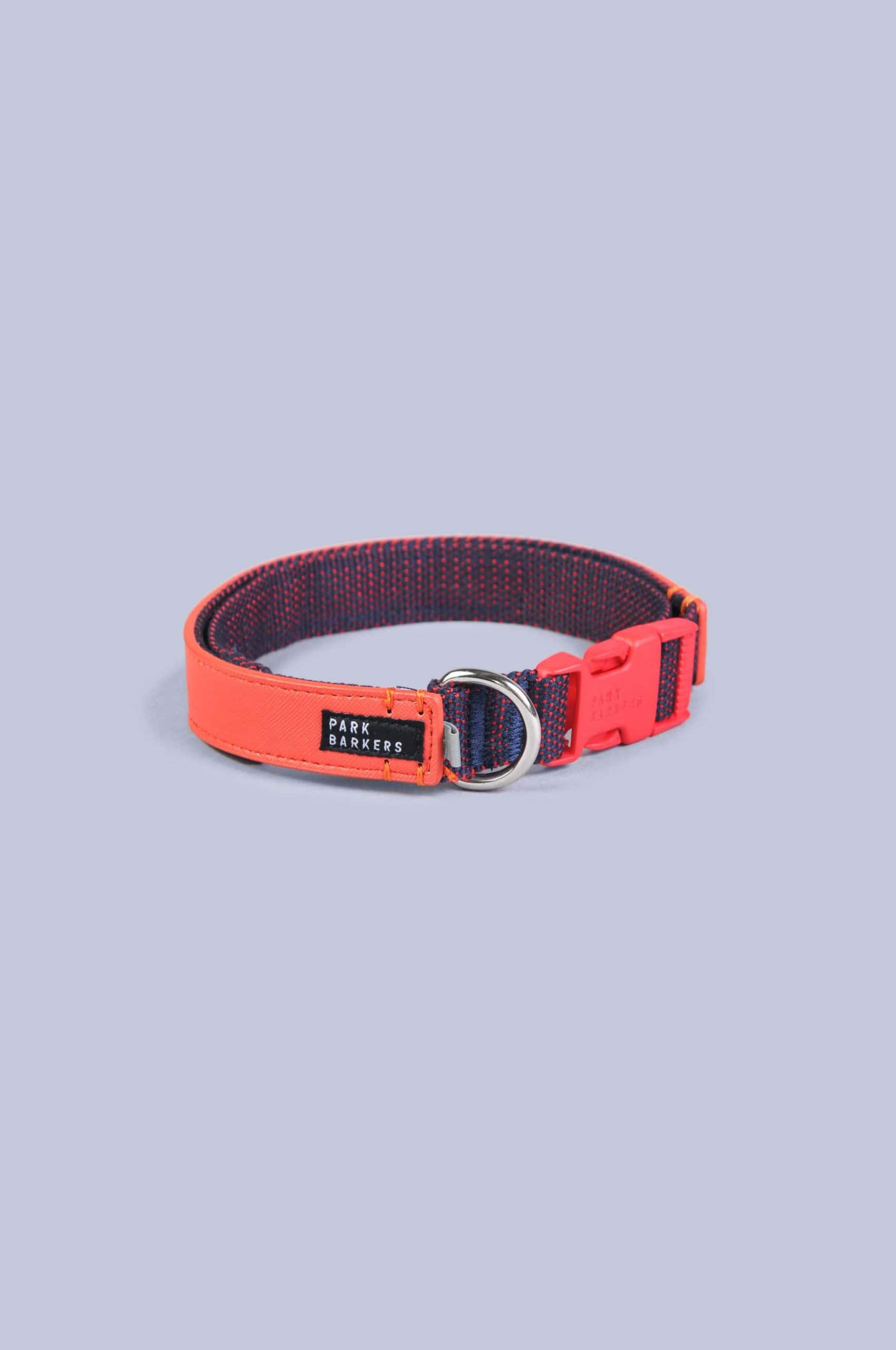 Red dog collar from Park Barkers brand