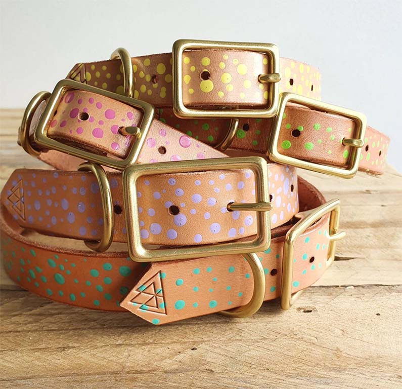 Design leather dog collars, yellow, pink, purple, green