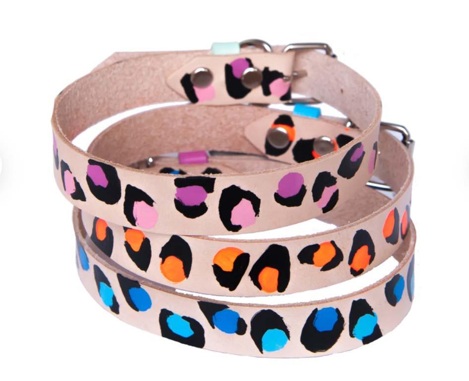 Leather design dog colours, pink, orange, blue, tan