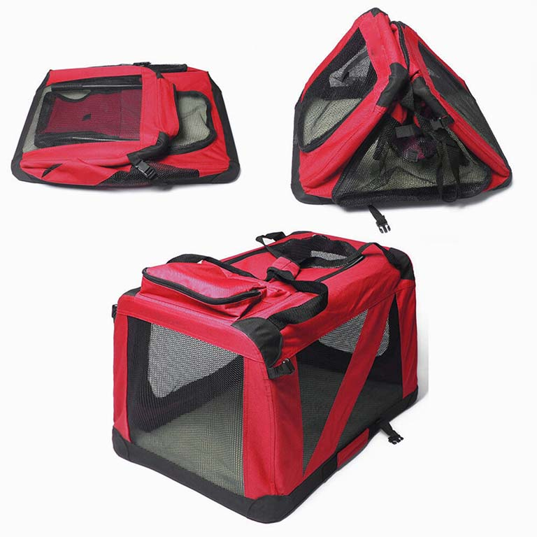 Red soft dog crate, foldable