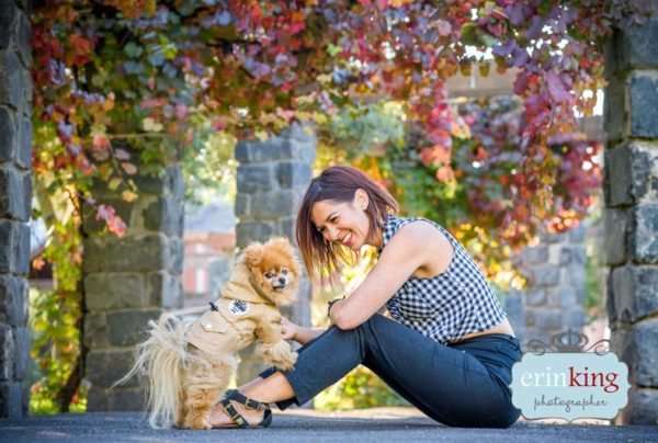 Professional photograph of a dog with owner
