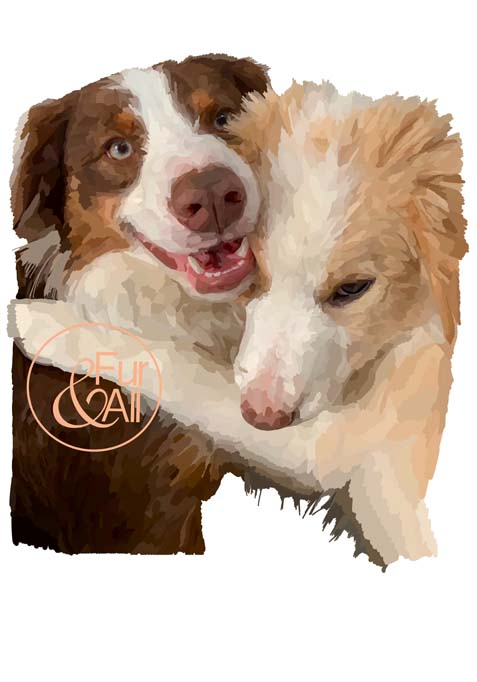 Pet artwork of two dogs hugging