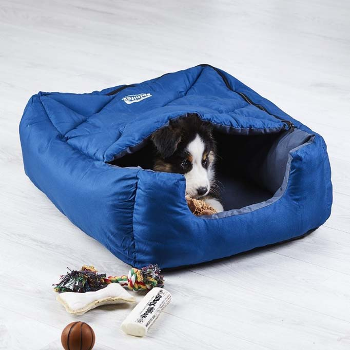 Blue sleeping bag for dogs by Anaconda brands.