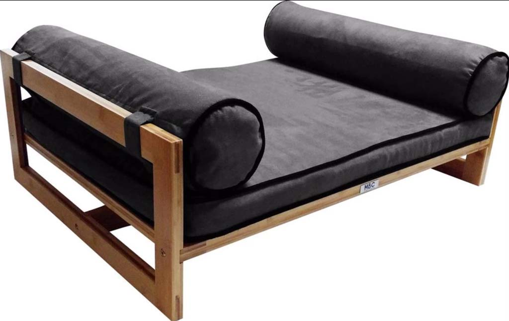 wooden dog bed frame with cushions