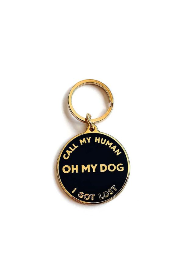 "Unique Dog Tag with ""Call My Human"" Text"